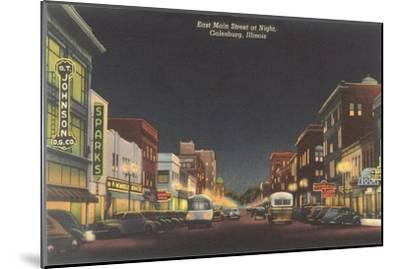 Night, Main Street, Galesburg, Illinois--Mounted Art Print