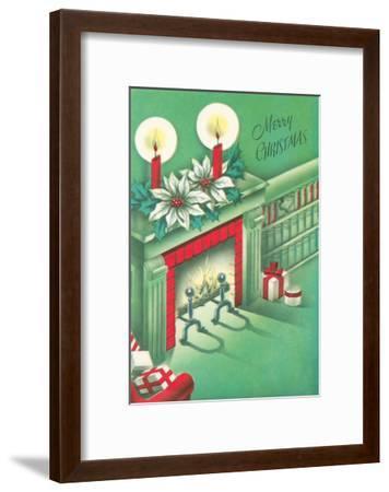 Merry Christmas, Living Room, Fireplace--Framed Art Print