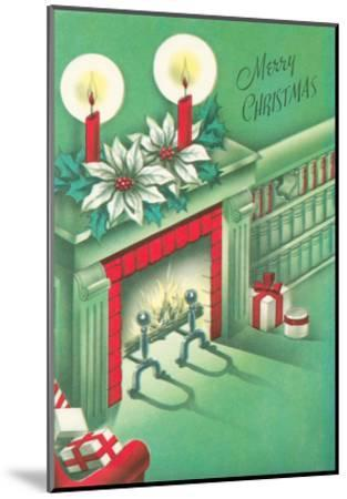 Merry Christmas, Living Room, Fireplace--Mounted Art Print