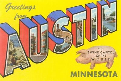 Greetings from Austin, Minnesota--Stretched Canvas Print