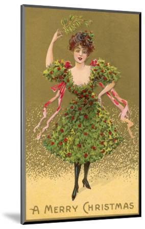 Woman Wearing Christmas Tree--Mounted Premium Giclee Print