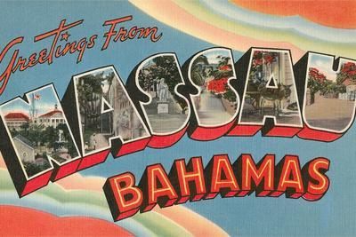 Greetings from Nassau, Bahamas--Stretched Canvas Print