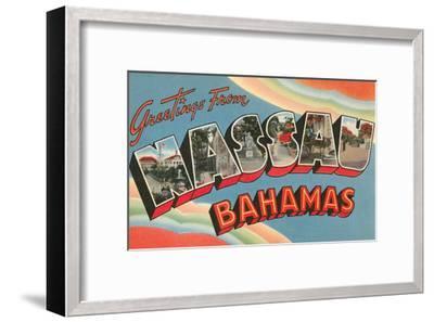 Greetings from Nassau, Bahamas--Framed Art Print