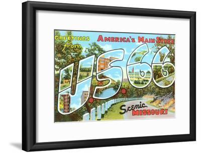 Greetings from US 66, Missouri--Framed Art Print