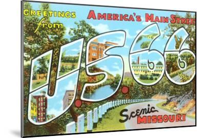 Greetings from US 66, Missouri--Mounted Art Print