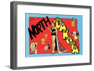 Greetings from North Dakota--Framed Premium Giclee Print