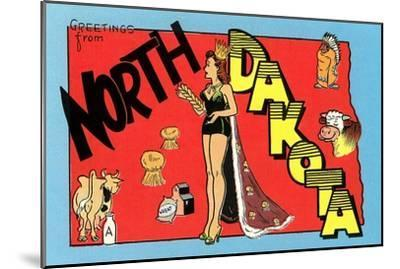 Greetings from North Dakota--Mounted Premium Giclee Print