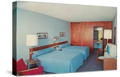 Motel Room with Two Double Beds--Stretched Canvas Print