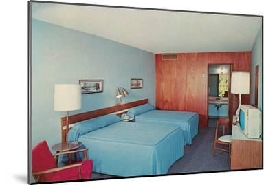 Motel Room with Two Double Beds--Mounted Art Print
