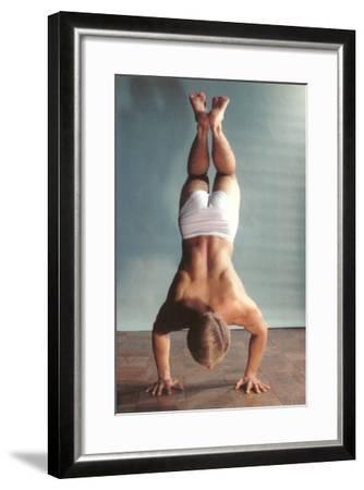Man Doing Handstand in Underwear--Framed Art Print