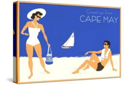 Greetings from Cape May, New Jersey, Beach Couple--Stretched Canvas Print