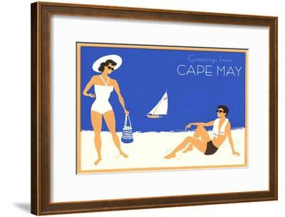 Greetings from Cape May, New Jersey, Beach Couple--Framed Art Print
