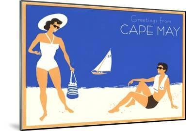 Greetings from Cape May, New Jersey, Beach Couple--Mounted Art Print