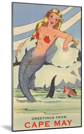 Greetings from Cape May, New Jersey, Mermaid--Mounted Art Print