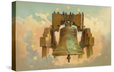 Liberty Bell in the Clouds--Stretched Canvas Print