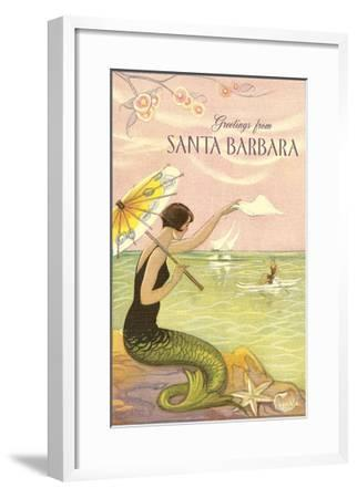 Greetings from Santa Barbara--Framed Art Print
