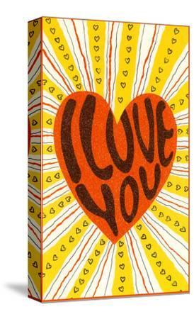 Psychedelic Love You Heart--Stretched Canvas Print