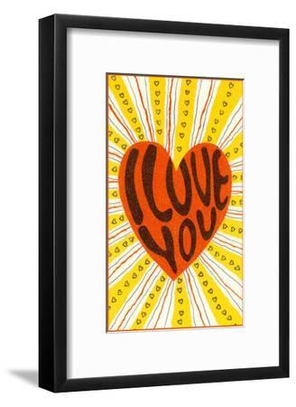Psychedelic Love You Heart--Framed Art Print