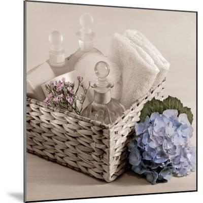Hydrangea and Basket 2-Julie Greenwood-Mounted Art Print
