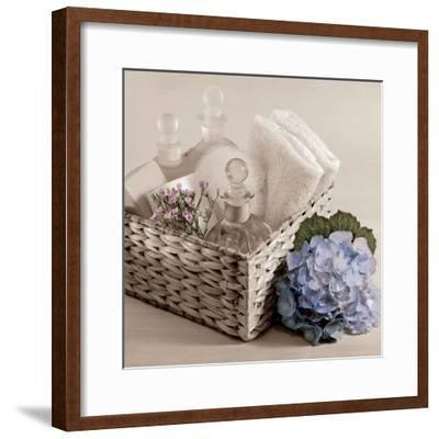 Hydrangea and Basket 2-Julie Greenwood-Framed Art Print