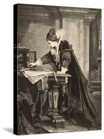Elizabeth I Signs the Death Sentence of Maria Stuart--Stretched Canvas Print