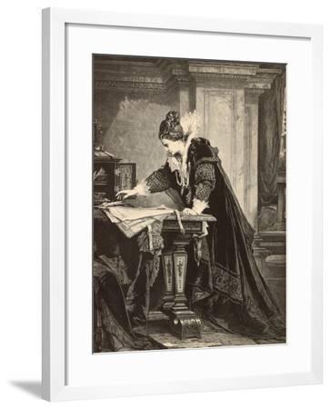 Elizabeth I Signs the Death Sentence of Maria Stuart--Framed Giclee Print