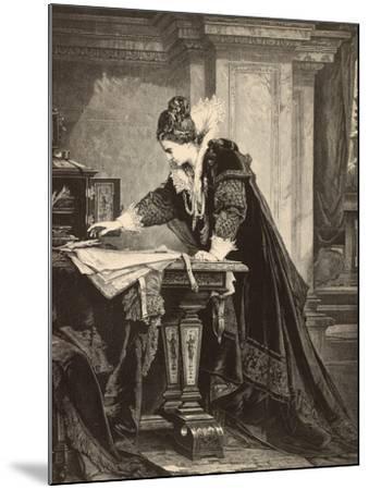 Elizabeth I Signs the Death Sentence of Maria Stuart--Mounted Giclee Print
