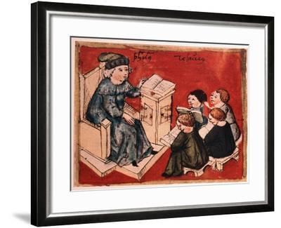 Bachelor Teaching His Pupils, C 15th--Framed Giclee Print