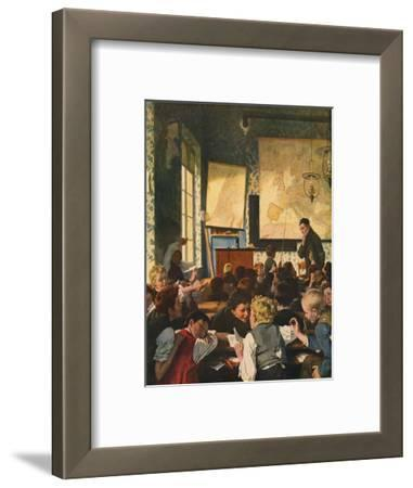 Classroom During Geography Lessons-Carl Hertel-Framed Giclee Print
