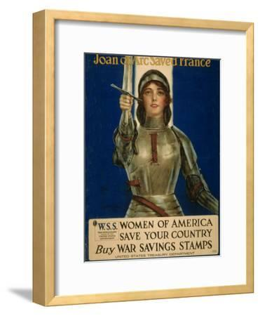 Joan of Arc Saved France, Women of America Save Your Country, WWI Poster-William Haskell Coffin-Framed Giclee Print