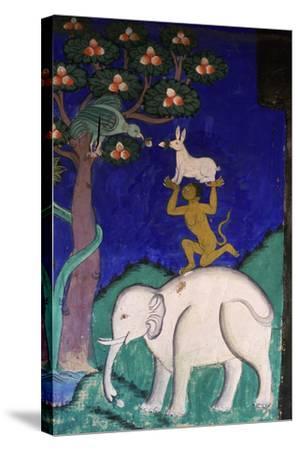 Thikse Monastery, Wall Painting, Ladakh, Himalaya--Stretched Canvas Print