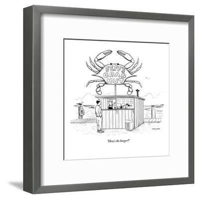 """How's the burger?"" - New Yorker Cartoon-Alex Gregory-Framed Premium Giclee Print"