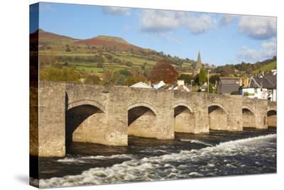 Bridge over River Usk, Crickhowell, Powys, Wales, United Kingdom, Europe-Billy Stock-Stretched Canvas Print