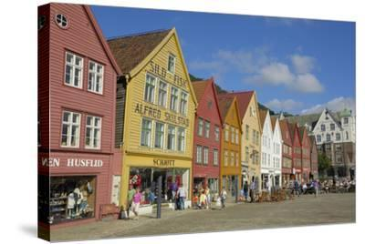 Wooden Buildings on the Waterfront, Bryggen, Vagen Harbour, UNESCO Site, Bergen, Hordaland, Norway-Gary Cook-Stretched Canvas Print