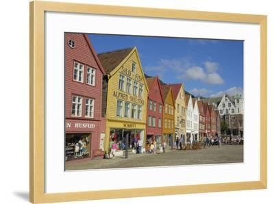 Wooden Buildings on the Waterfront, Bryggen, Vagen Harbour, UNESCO Site, Bergen, Hordaland, Norway-Gary Cook-Framed Photographic Print
