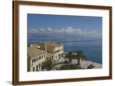 Sea View over a Sea Side Cafe from Corfu Town, Corfu Island, Ionian Islands, Greek Islands, Greece-James Emmerson-Framed Photographic Print