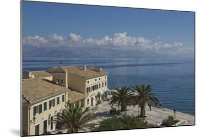 Sea View over a Sea Side Cafe from Corfu Town, Corfu Island, Ionian Islands, Greek Islands, Greece-James Emmerson-Mounted Photographic Print