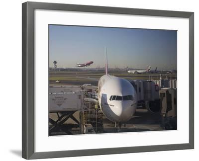 Boeing 777-300 ER Jet Airliner of Emirates Airline at Gate, Sydney Airport, Australia-Nick Servian-Framed Photographic Print