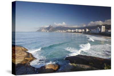 Ipanema Beach from Ponta do Aproador, Rio de Janeiro, Brazil, South America-Ian Trower-Stretched Canvas Print