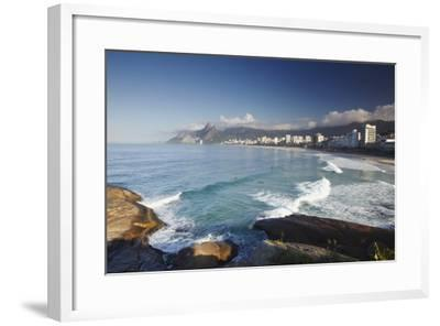 Ipanema Beach from Ponta do Aproador, Rio de Janeiro, Brazil, South America-Ian Trower-Framed Photographic Print