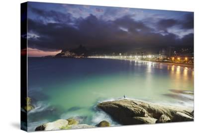 Ipanema Beach and Ponta do Aproador at Sunset, Rio de Janeiro, Brazil, South America-Ian Trower-Stretched Canvas Print