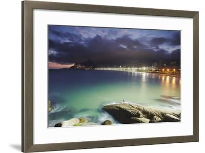 Ipanema Beach and Ponta do Aproador at Sunset, Rio de Janeiro, Brazil, South America-Ian Trower-Framed Photographic Print