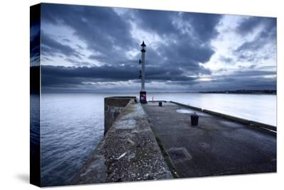 Sea Wall and Harbour Light at Bridlington, East Riding of Yorkshire, England, United Kingdom-Mark Sunderland-Stretched Canvas Print