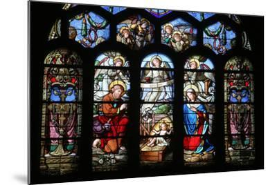 Stained Glass Window Depicting the Nativity, St. Eustache Church, Paris, France, Europe-Godong-Mounted Photographic Print