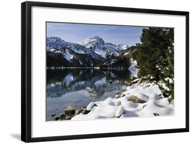 St. Maurici Lake and Snowy Peaks of Aigues Tortes Nat'l Park in Winter, Pyrenees, Catalonia, Spain-Nick Upton-Framed Photographic Print
