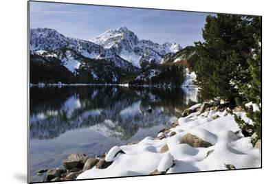 St. Maurici Lake and Snowy Peaks of Aigues Tortes Nat'l Park in Winter, Pyrenees, Catalonia, Spain-Nick Upton-Mounted Photographic Print