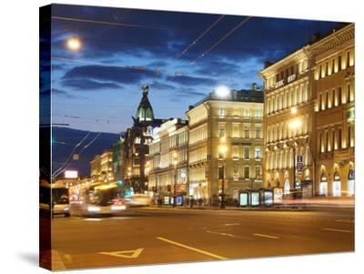 Nevsky Prospekt at Night, St. Petersurg, Russia, Europe-Vincenzo Lombardo-Stretched Canvas Print