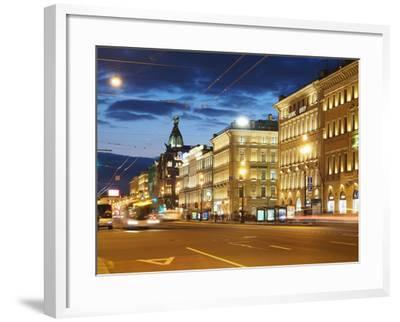 Nevsky Prospekt at Night, St. Petersurg, Russia, Europe-Vincenzo Lombardo-Framed Photographic Print