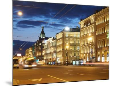 Nevsky Prospekt at Night, St. Petersurg, Russia, Europe-Vincenzo Lombardo-Mounted Photographic Print