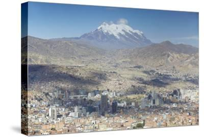 View of Mount Illamani and La Paz, Bolivia, South America-Ian Trower-Stretched Canvas Print